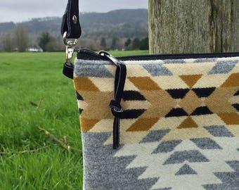 Crossbody Messenger Purse // Southwestern Grey Pendleton Wool Black Leather // Rosebud Originals