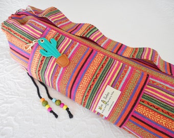 Yoga Mat Bag - Mexican Woven Fabric - PINKS - simple design, pure Cotton, POCKET INCLUDED, pretty beaded draw string-plenty of wiggle room.