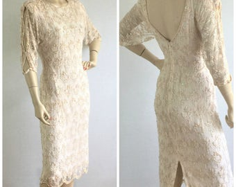 Vintage 60s Oleg Cassini iridescent beaded sequined ivory cocktail /wedding /party dress - 1960s designer wiggle dress - medium