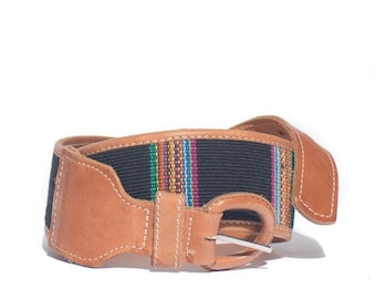 40% off SALE M | L.L. Bean Navy Blue Woven Cotton & Leather Wide Belt Made in Guatamala