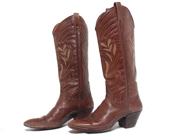 6 1/2 C (Wide) | Dan Post Made in Spain Western Boots Brown Inlay Cowgirl Boots