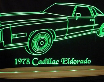 "1978 Cadillac Eldorado Acrylic Lighted Edge Lit LED  Sign Awesome 21"" VVD12 Full Size Made in USA"