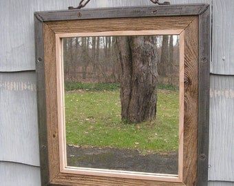 Medium Industrial Rustic Metal Trim Barn Wood Mirror no.1630