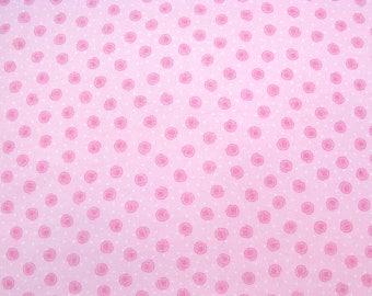 Flannel Fabric by the Yard in a Soft Pink Rosebud Print 1 Yard