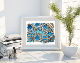 Rose Window, watercolor, cathedral, digital print, architecture,