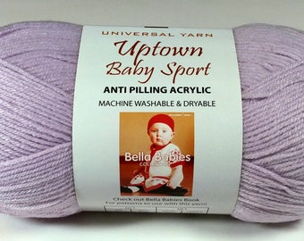 Uptown Baby Sport Yarn, Universal Yarn, Princess Baby Yarn, Color 212 Lot 10/141, #2 Fine Yarn, Knitting Yarn, Crochet Yarn