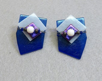 Dichroic Fused Glass Pierced Earrings, Blue and White Glass Earrings, Vintage Pierced Earrings