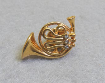 Adorable Vintage Rhinestone French Horn Tie Tac or Lapel Pin