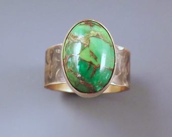 Mohave Green Turquoise- Smoky Bronze Patina- Metal Art Statement Ring