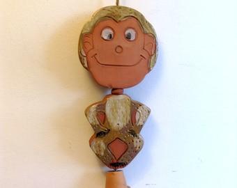 "Vintage Monkey Wind Chime.   Ceramic figure. Mod Kitsch.   12.5"". Pacific Stoneware, People Lover.  Vintage 1970."