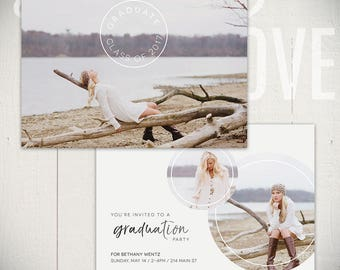 Graduation Announcement Template: Adrift Card A - 5x7 Senior Card Template