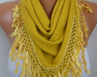 ON SALE --- Mustard Knitted Scarf ,Shawl, Lace Oversized Bridesmaid Bridal Accessories Gift Ideas For Her Women Fashion Accessories Teacher