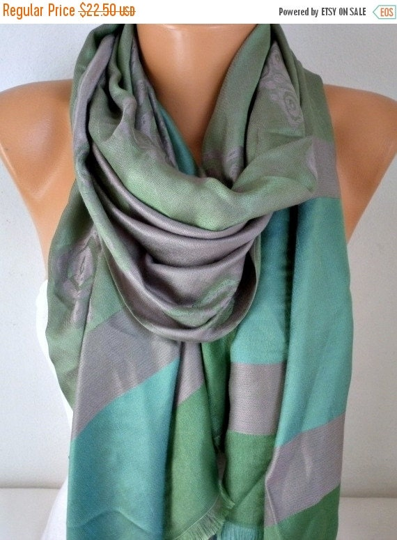 ON SALE --- Green & Gray Scarf, Wedding Shawl, Cowl, Oversized Wrap,Bridal Accessories,Bridesmaid Gift, Gift Ideas For Her, Women Fashion Ac