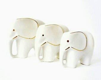 3 Mid Century Porcelain Elephant Figurines