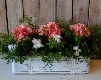 Everyday Spring Arrangement, Easter, Peach Hydrangeas and Cotton stems, Box Arrangement, Urban Farmhouse, Shabby Cottage, Rustic Home