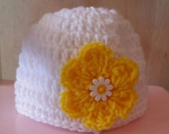 Yellow Sunflower Beanie Hat with flower, button, crochet, colorful, white, large flower, white, yellow, warm, weather, cold, snow