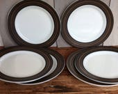 Rare Vintage Pyrex Terra Dinner Plates / Brown Band Plates / Milk Glass Plate Set