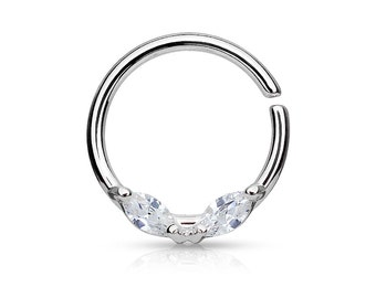 Crystal Septum Ring Silver Daith Piercing Rook Earring Hoop