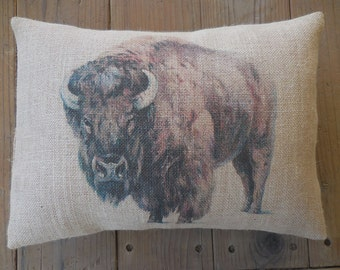 Bison Burlap Pillow, Buffalo, Southwest decor, Shabby Chic, Lodge, Cabin, Rustic, INSERT INCLUDED