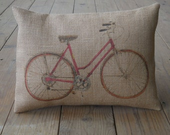 Red Bike Burlap Pillow, Vintage bicycle Pillow,  Travel, Shabby Chic, Industrial Chic,  INSERT INCLUDED