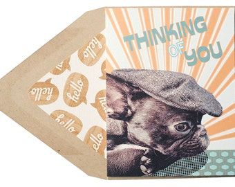 Thinking of You Card - Love, Puppy, Frenchie, French Bulldog, Dog, Animal, Pet, Photography