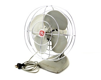 Vintage Industrial Open Cage Oscillating Fan by General Electric (c.1950s) - Collectible Open Cage Fan, Industrial Office Decor