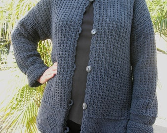 SUMMER SALE Handmade Blue Silk Runway Sweater, sz M, 80% silk, beautiful buttons, reduced price