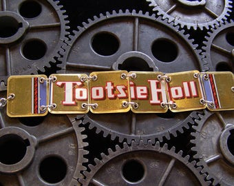 Recycled / Upcycled Vintage Tootsie Roll Tin Bracelet