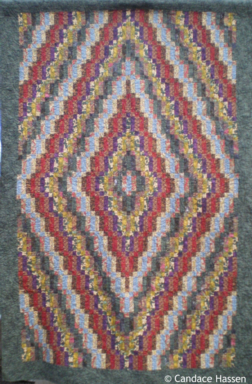 Trip Around The World Quilt Pattern Lap Size : Large Lap Size Quilt in Trip Around the World Variation and