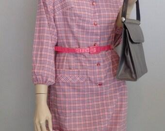vintage 60's Preppy grunge Plaid Shirt Dress  S/M