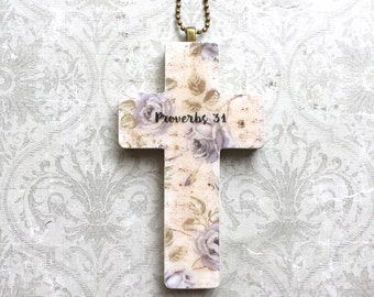 Proverbs 31 Cross Necklace Scripture Necklace Christian Jewelry Christian Pendant Christian Gift Cross Pendant