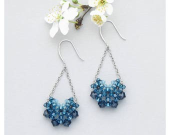 Swarovski Crystal Earrings / Blue Dangle Earrings / Long Drop Earrings / Crystal Earrings / Teardrop Earrings / Chandelier Earrings
