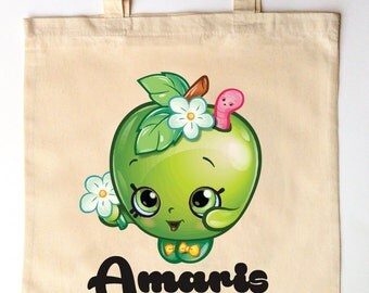Little Apple Shopkins - Tote for Kids - Custom Printed Library Book Bag - Children's Tote Bag - Shopkins Girl