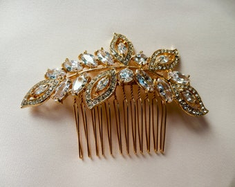 Rose Gold bridal hair comb, Gold Bridal Headpiece, Wedding, Accessories, Crystal Hair Comb, Crystal Headpiece