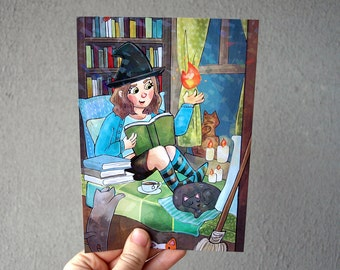Witchy - Holographic Art Print / Holo Print / Witch Art / Cat Print / Holographic Prism Coating / Cardstock Print / Witch with Cats Art