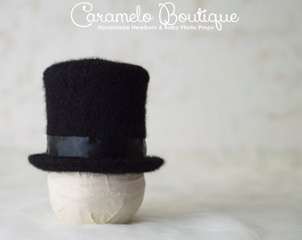 Millinery Inspired Newborn Black Top Hat-Baby Boy Top Hat-Newborn Photo Props-Baby Top Hat-Infant Top Hat-Newborn Photography Props