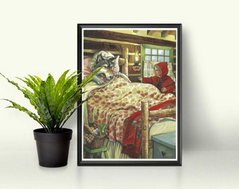 Little Red Riding Hood • Big Bad Wolf Children's Design • Grimm Brothers Story Drawing • Fairy Tale Page Art • Rustic Cottage Themed Print