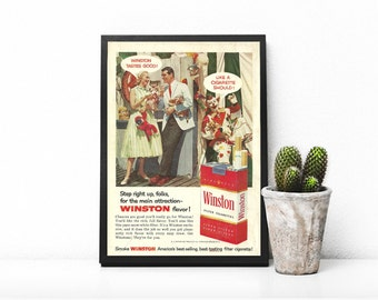 Winston Cigarettes • Old 50s Ad • Tobacco Advert • Red and White Cig Pack • Old Fashioned Outfits Photo • 50s Wall Prop • Kitchen Wall Art