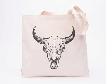 Buffalo Skull Large Canvas Shopper Tote - Reusable Grocery Tote Bag - Canvas Tote Bag - Screen Printed Cotton Grocery Bag