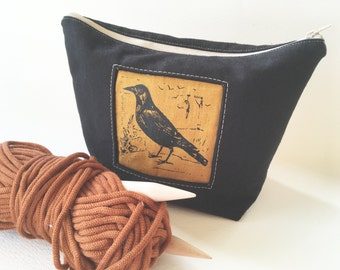 Raven Zipper Bag, Canvas, Crow