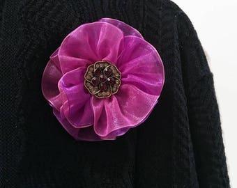 Mauve Orgnaza Ribbon Flower Brooch, Fabric Flower Brooch, Brooch Pin, Women's Accessory, Women's Gifts