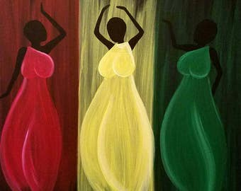 Dancing Ladies Acrylic Painting