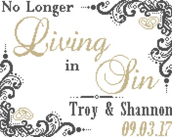 No Longer Living In Sin Cross Stitch Pattern/Subversive Wedding Cross Stitch Pattern/Wedding Cross Stitch Pattern/Subversive Cross Stitch