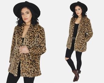 LEOPARD Chunky Faux FUR Jacket Vtg 80's Blair Brown Long Oversized Rocker Hipster Comfy Warm Winter Statement True Romance Coat - Large/XL