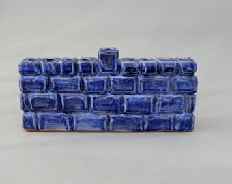Hanukkah  Menorah - Judaica - Midnight Blue Carved Pottery Chanukah