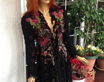 RESERVED FOR NADIA dress handmade crochet embroidered black silk dreamy sexy gypsy dress women clothing  gift idea for her by golden yarn