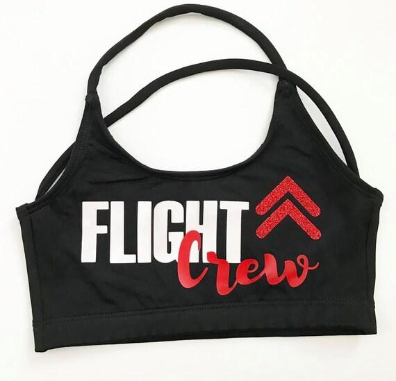 New FLIGHT CREW Sports Bra & Bow - cheer dance gymnast dancewear  girls child woman adult teen christmas flyer cheerleader