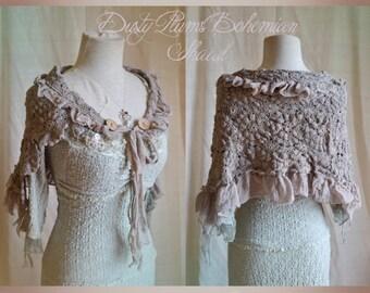 Dusty Lilac Bohemian Crochet Shawl