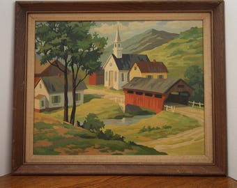 Mid Century Summer New England Covered Bridge Paint By Number