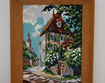 Vintage Framed Paint By Numbers Village Church Cottage City Street Vibrant Colors Cobblestone Street